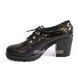 Женские кожаные туфли на шнуровке, устойчивый каблук, фото 3