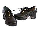 Женские кожаные туфли на шнуровке, устойчивый каблук, фото 4