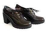 Женские кожаные туфли на шнуровке, устойчивый каблук, фото 6