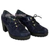 Женские синие замшевые туфли на шнуровке, устойчивый каблук, фото 4