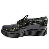 Женские туфли на утолщенной подошве, на шнуровке, натуральная кожа с тиснением питон., фото 3