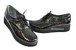 Женские туфли на утолщенной подошве, на шнуровке, натуральная кожа с тиснением питон., фото 5