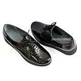 Женские туфли на утолщенной подошве, на шнуровке, натуральная кожа с тиснением питон., фото 6