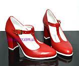 Женские классические красные кожаные туфли на высоком каблуке., фото 2