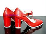 Женские классические красные кожаные туфли на высоком каблуке., фото 3