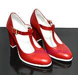 Женские классические красные кожаные туфли на высоком каблуке., фото 5