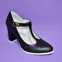 Женские классические черные кожаные туфли на высоком каблуке., фото 1