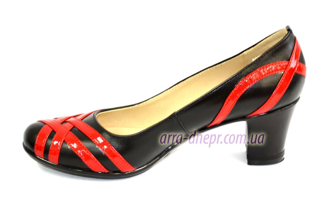 dc6753eb0027 Черные кожаные женские туфли на каблуке с плетением из красной лаковой  кожи. ТМ ...