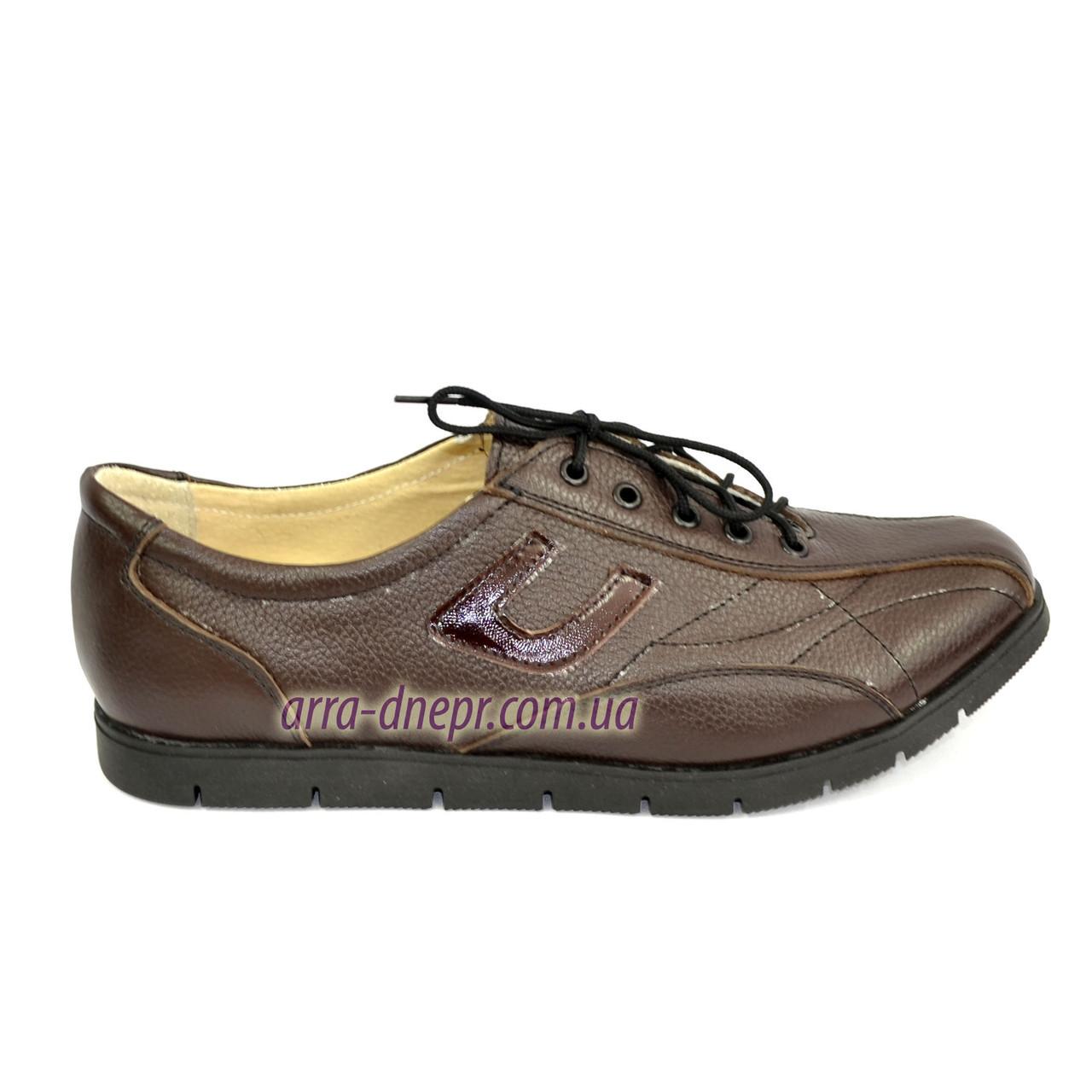 """Кожаные коричневые женские кроссовки на шнуровке. ТМ """"Maestro"""""""