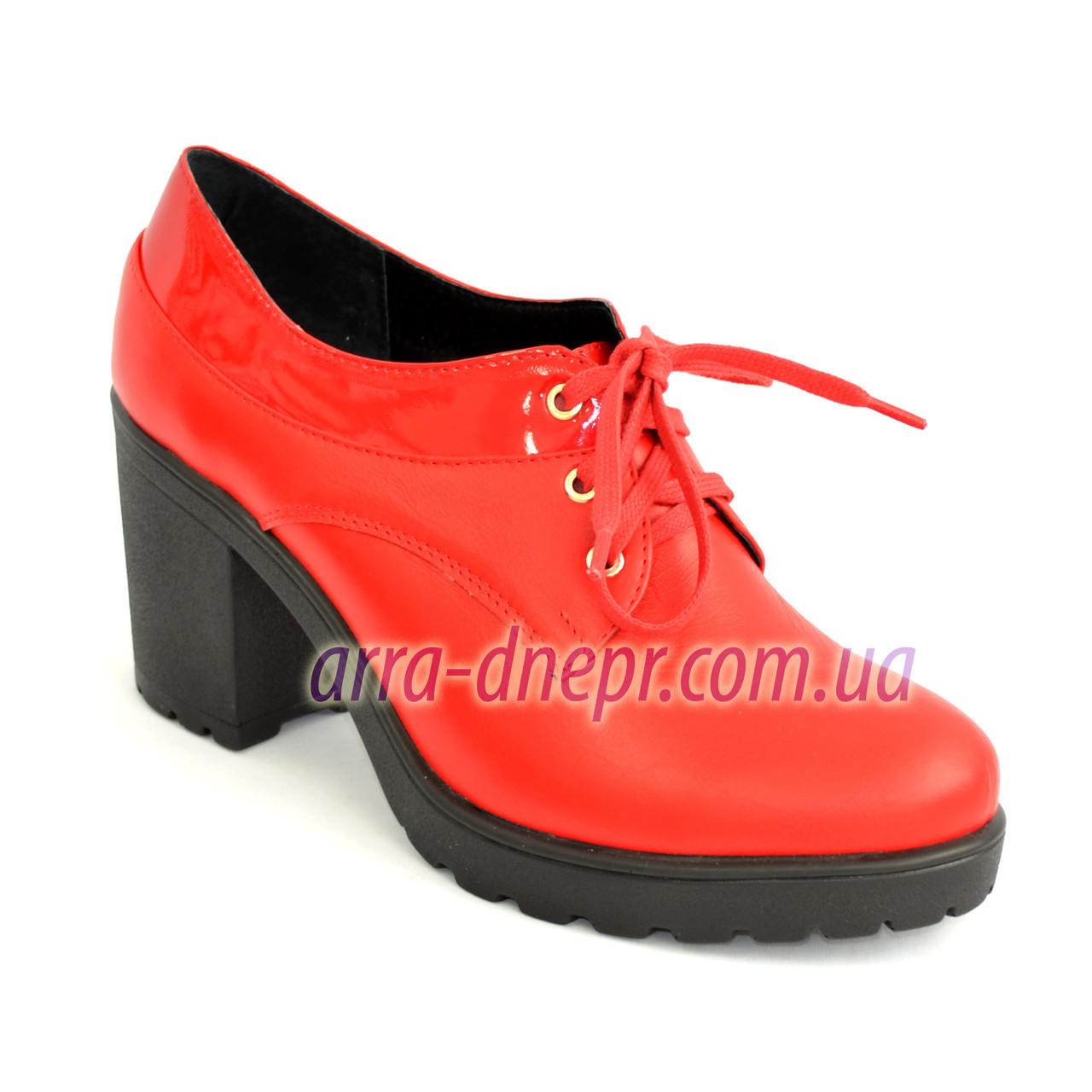 Женские кожаные туфли на шнуровке из натуральной кожи красного цвета, устойчивый каблук