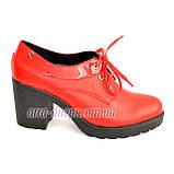 Женские кожаные туфли на шнуровке из натуральной кожи красного цвета, устойчивый каблук, фото 2
