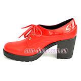 Женские кожаные туфли на шнуровке из натуральной кожи красного цвета, устойчивый каблук, фото 3