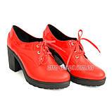 Женские кожаные туфли на шнуровке из натуральной кожи красного цвета, устойчивый каблук, фото 4