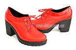 Женские кожаные туфли на шнуровке из натуральной кожи красного цвета, устойчивый каблук, фото 5