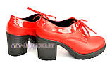 Женские кожаные туфли на шнуровке из натуральной кожи красного цвета, устойчивый каблук, фото 6