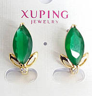 Серьги 513. Серьги с крупными зелёными кристаллами. Бижутерия оптом, серьги Xuping.