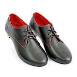 Закрытые женские кожаные черные туфли на шнуровке, фото 4