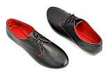 Закрытые женские кожаные черные туфли на шнуровке, фото 6