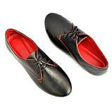 Закрытые женские кожаные черные туфли на шнуровке, фото 7