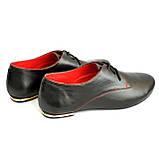 Закрытые женские кожаные черные туфли на шнуровке, фото 8