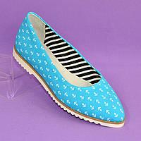 Женские текстильные туфли-балетки с заостренным носком., фото 1