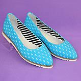 Женские текстильные туфли-балетки с заостренным носком., фото 4