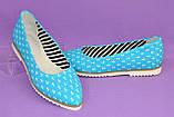 Женские текстильные туфли-балетки с заостренным носком., фото 5