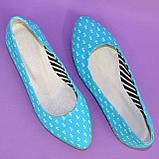 Женские текстильные туфли-балетки с заостренным носком., фото 6