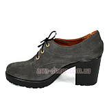Женские серые замшевые туфли на шнуровке, устойчивый каблук, фото 3