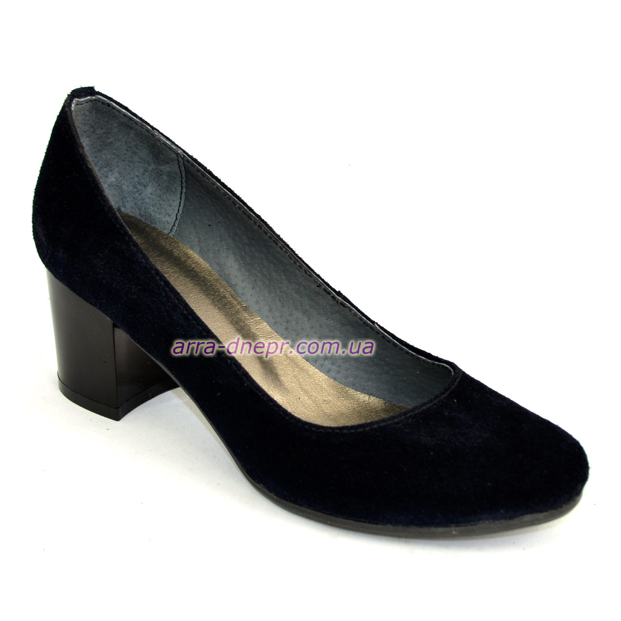 Женские туфли на невысоком устойчивом каблуке, из натуральной замши синего цвета