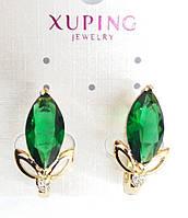 Серьги 514. Серьги с большими зелёными кристаллами. Бижутерия оптом RRR, серьги Xuping.