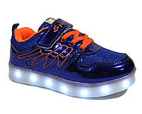 Кроссовки детские с LED подсветкой и usb, синий, 27-30