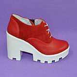 Женские стильные туфли на шнуровке, высокий каблук. Натуральная красная кожа и замш, фото 2