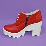 Женские стильные туфли на шнуровке, высокий каблук. Натуральная красная кожа и замш, фото 3