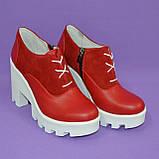 Женские стильные туфли на шнуровке, высокий каблук. Натуральная красная кожа и замш, фото 4