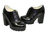 """Женски туфли на тракторной подошве, на шнуровке. Натуральная кожа """"питон"""", фото 4"""