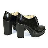 """Женски туфли на тракторной подошве, на шнуровке. Натуральная кожа """"питон"""", фото 5"""
