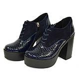 Женски синие туфли на высоком устойчивом каблуке, на шнуровке, натуральная кожа питон и замша, фото 8
