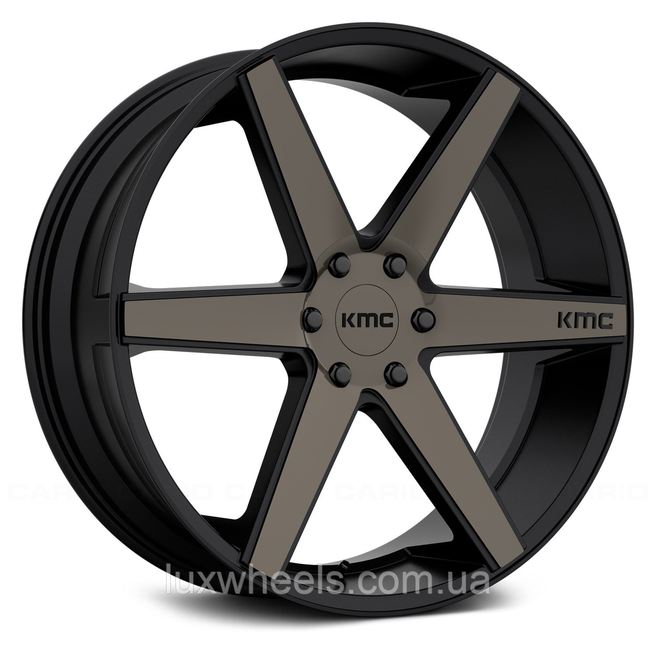 KMC KM704 Satin Black with Machined Face and Tinted Clear Coat