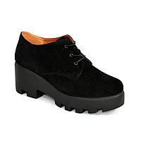 Стильные замшевые женские туфли на тракторной подошве, фото 1