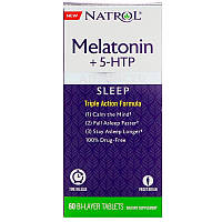 Natrol, Advanced Sleep Melatonin +5-HTP, 60 Bi-Layer Tablets