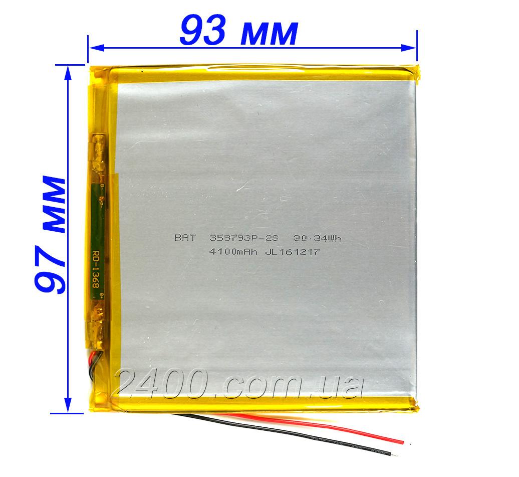 Аккумулятор 4100мАч 359793 мм 3,7в универсальный для планшета 3.7v 3,5*97*93 (4100mAh)