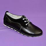 Женские туфли на шнуровке, из натуральной кожи и замши черного цвета, фото 4