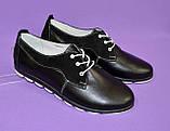 Женские туфли на шнуровке, из натуральной кожи и замши черного цвета, фото 5