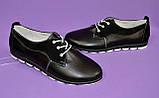 Женские туфли на шнуровке, из натуральной кожи и замши черного цвета, фото 6