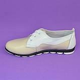 Женские туфли на шнуровке, из натуральной кожи бежевого и белого цветов, фото 2