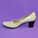 "Бежевые туфли женские, из натуральной кожи, на устойчивом каблуке. ТМ ""Maestro"", фото 2"