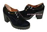 Женские черные замшевые туфли на шнуровке, устойчивый каблук, фото 4