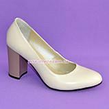 """Женские кожаные классические туфли на каблуке, бежевого цвета. ТМ """"Maestro"""", фото 5"""
