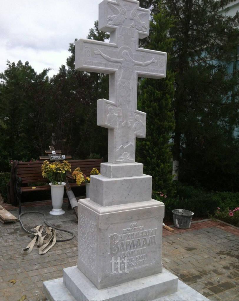 Церковный мраморный крест с распятием № 15